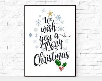SALE We Wish You A Merry Christmas Red Calligraphy Printable Art Print, Christmas Decor, Happy Holidays Christmas Print, Instant Download