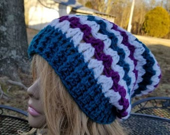 Tam, Slouch,  Adult hat, winter wear, turquoise, white, purple, Ready to ship