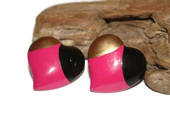 Cute Heart Earrings, Chunky Earrings, Plastic Earrings, Plastic Jewelry, Costume Jewelry, Heart Jewelry, Gold Black and Hot Pink Hearts