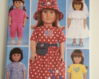 Bride doll /18 inch Doll Cothes/ doll wardrobe / hippy doll / boho doll / fanny pack /doll dress 2003 sewing pattern, Butterick 3875
