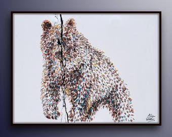 "Brown Grizzly Bear animal brown painting 40""  original oil painting by Koby Feldmos"