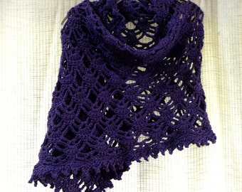 Purple Shawl Lacy Oblong Crochet Cover Up Wrap Web Design Soft Rectangle