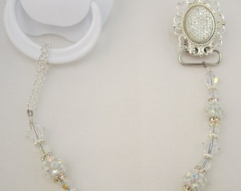 Sparkly White Pacifier clip with matching crystals and Beads (CSPW)