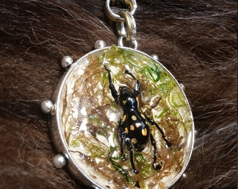 Handmade Weevil Necklace with Moss