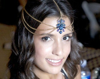 ROYAL BLUE chain head piece - head chain - chain headpiece - chain headdress - hair chain