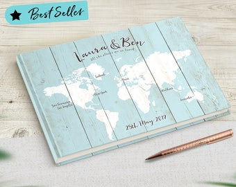 Travel Wedding Guestbook, Travel Theme Wedding, Sky Blue, Baby Blue, Guest Book Alternative, Best Selling Guestbook, No Ordinary Emporium