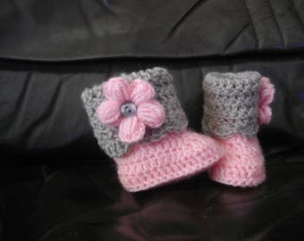 Baby Pink and gray flower gray