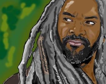 King Ezekiel The Walking Dead Khary Payton Actor Digital Artwork Portrait A6 Artist Trading Card