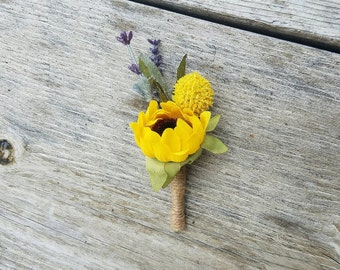 Spring Boutonniere, country boutonniere, rustic boutonniere, Billy ball boutonniere, lavender wedding, sunflower wedding, craspedia