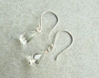 Crystal Earrings, Sterling Silver Crystal Earrings, Bridesmaid Jewelry,