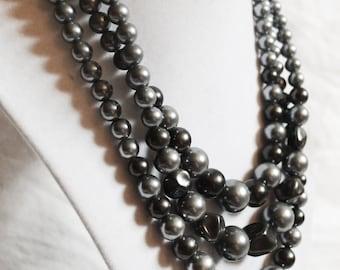 Grey Pearl Triple Necklace