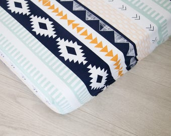 Changing Pad Cover | Navy and Gold