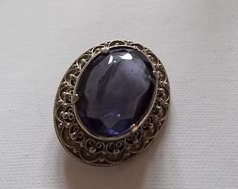 Vintage Amethyst Silver Brooch Pin NUMBERED-SALE