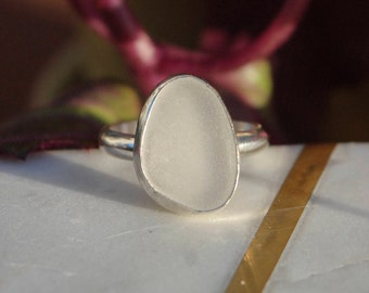 Ring, Sterling Silver Ring, Sea Glass Ring, Handmade Ring, Size 8 Ring, Woman Ring, Seaglass Ring, Rings For Women, White Sea Glass
