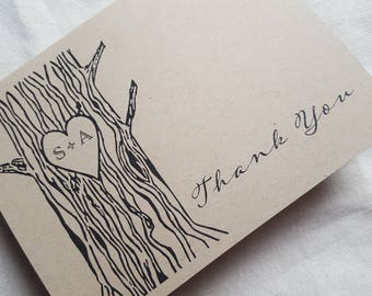 Rustic thank you cards set of 5, rustic wedding, blank thank you cards, recycled cards, wedding thank you notes, thank you card, note cards