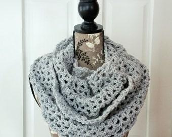 Crochet Infinity Scarf Gray Knit Oversized Grey Infinity Scarf Grey Knit Airy Handmade Light Scarf Soft