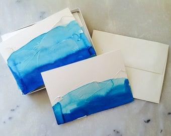 Handmade Textured Notecards- Glacier Landscape, Set of 4
