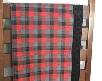 Plaid and minky blanket