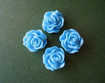 4pcs Light Blue Rose Flower Resin Cabochon 13mm