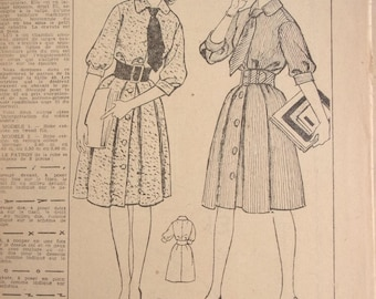 vintage woman art buttoned and belted dress sewing pattern 812