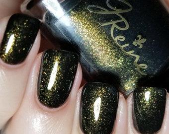 Who Dat Nation - Black and Gold Shimmer Nail Polish