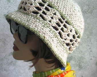 Womens Crochet Hat With Shell Stitch Band And Brim Cotton Summer Beach Hat Fits Head Sizes 21- 23 Inch Ready To Ship