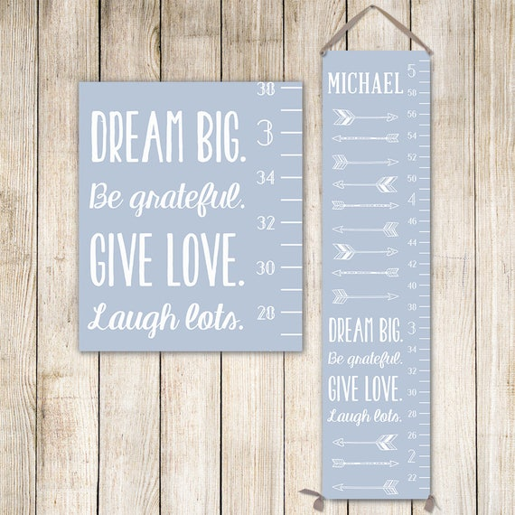 Modern Growth Chart - Personalized Canvas Growth Chart with Arrows in Light Blue - GC0002S