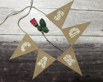 Small cards wedding sign, hessian banner, cards burlap bunting - white lace appliqued letters on hessian / burlap triangular flags