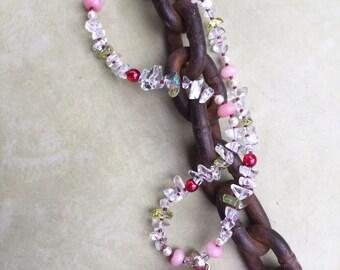 CRYSTAL ROSE Necklace (Quartz, Morganite, Glass, Swarovski Pearls)