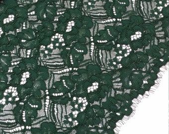 Green lace fabric by the yard, France Lace fabric, Alencon Lace, Bridal lace, Wedding Lace, Embroidery lace, Evening dress lace L882013