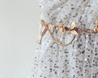 Gold floral bridal belt. Rustic wedding belt. Gold and pearl wedding belt.