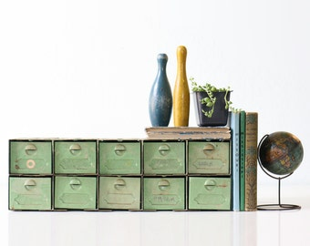 Vintage Green Drawers, Industrial Metal Drawer Cabinet