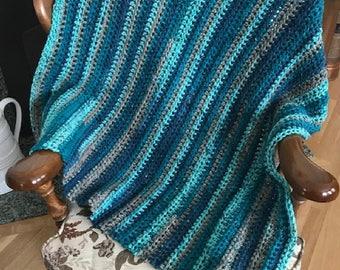 "CROCHET bulky chunky soft handmade lap afghan blanket chair throw wheelchair adult toddler child acrylic Blue Aqua 34"" x 36"" made in USA new"