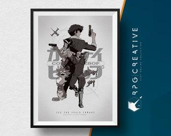 Cowboy Bebop : Spike Spiegel - Anime, Movie Poster, Animation, Illustration, Digital Print, Geek Decor, Wall Art