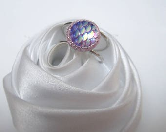 ring cabochon glitter small purple scales