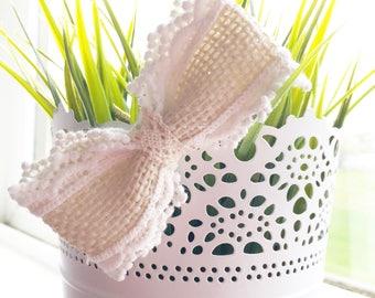 Crochet/Burlap Clip or Headband