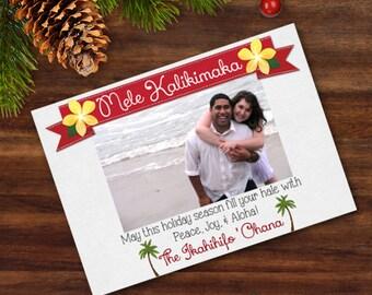 Printable Christmas Card Mele Kalikimaka Hawaiian Island Art Digital Card