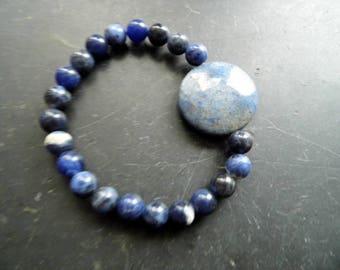 Bracelet, sodalite, Blue, Dumortiet, disc, unisex, jewelry