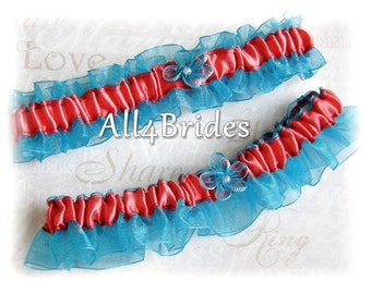 Coral and turquoise wedding bridal garter set, something blue bridal accessories.  Prom garters