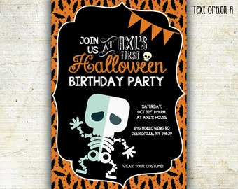 Halloween Birthday Invitation, Costume Party Invitation, Printable Halloween, Skeleton, Chalkboard style