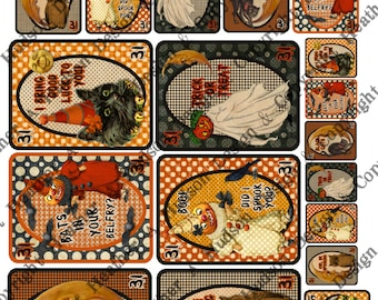Vintage Halloween Pumpkin Moon Witch Playing Cards Digital Collage sheet Printable