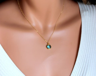 Labradorite Pendant Gold Filled Necklace Minimalist Jewelry 14kt Goldfilled Womens Girls Custom Necklaces