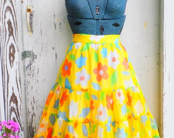 Vintage Yellow Floral Tulle Layered Skirt