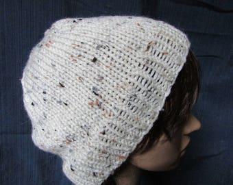 Oatmeal Slouchy Beanie with Freckles
