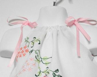 Baby Girl Pillowcase Dress. Upcycled Baby Girls Clothing. Upcycled Pillowcase Dress. Vintage Embroidery. Valentines