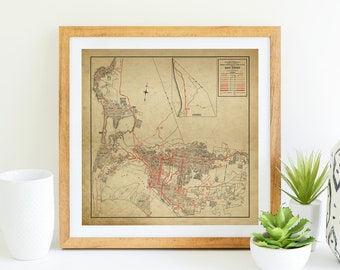 San Diego Vintage Map Print & Canvas Wrap, Socal Vintage Home Decor and Wall Art