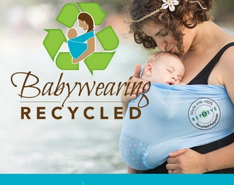 USA made Recycled Beachfront Baby Sling made with Repreve®- SAFE water babywearing at the beach, pool, water park or in the shower-  mesh
