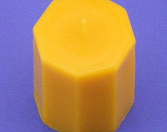 Bees Wax Candle, 2.5 x 3, Pure Bees Wax Candle, Octagon Candle, Yellow Organic Beeswax Candle Pillar, Pure Bees Wax Octagon Candle