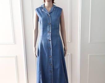 Variations dress - 1980's denim dress - mid length dress - 80's vintage dress - blue denim dress - vintage summer dress size 14
