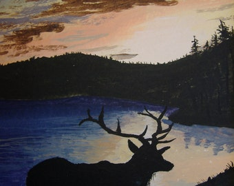 Wildlife art - Original acrylic painting - Elk at Sunset - 8 x 10 inches with matt